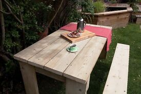 rustic garden furniture that can be made to specified sizes and colours