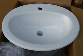 ceramic recessed handwash basin, white. W530mm x D430mm x H195mm. brand new, never used.