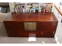 Large Antique Chinese Camphor wood linen chest. 143x59x62cm lovely brass fittings. lid needs fixed