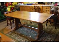 Modern solid oak refectory/dining table.