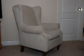PAIR of Next Sherlock Arm Chairs - Textured Weave, Light Natural - Both are excellent condition