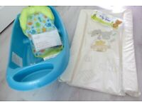 Baby bath, changing mat and 3 sponges