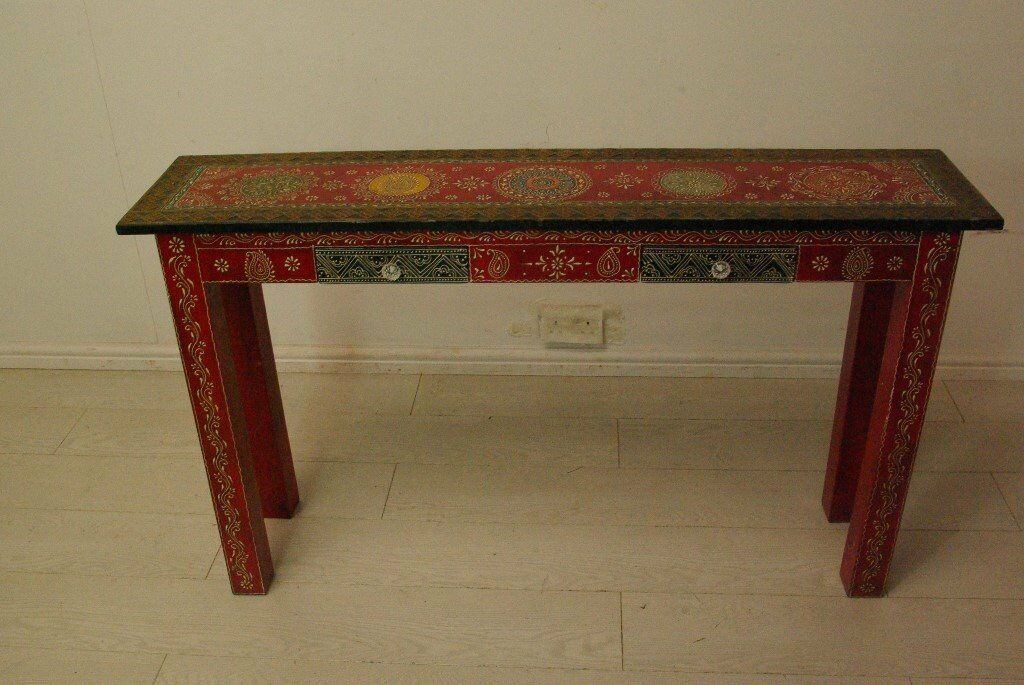 Attrayant Beautiful Hand Painted Stenciled Solid Wood Vintage Indian Console Table