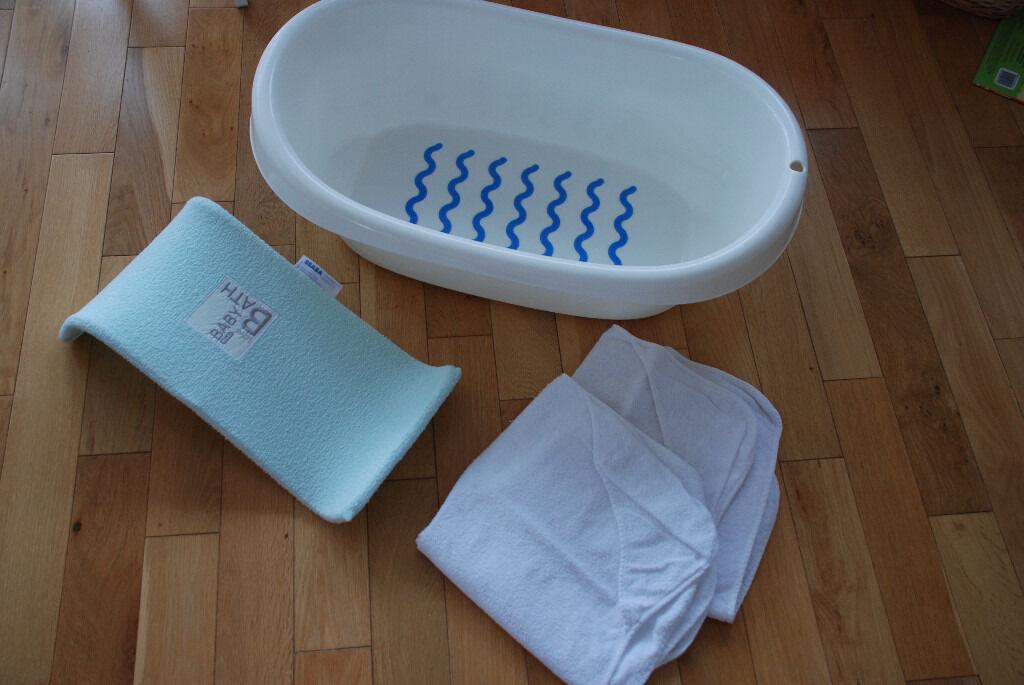 Baby Bath Kit (IKEA LATTSAM Bathtub, Beaba Support And Hooded Towels ) U2013 15