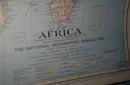 Vtg National Geographic Magazine AFRICA 1943 Map Society 31x29.25