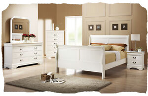 King Louis Timber 5 piece White QUEEN Size Bedroom Suite - BRAND NEW