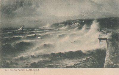 TUCK: ROUGH SEA- The South Cliffs,Eastbourne - G.E.NEWTON-SERIES 1111