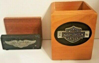 Vintage Harley Davidson Desk Set Business Card Holder And Pen Holder Wooden 2000