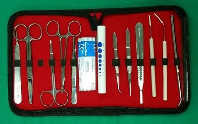 17 Pcs Student Biology Dissection Dissecting Kit W Sterile Surgical Blade 10