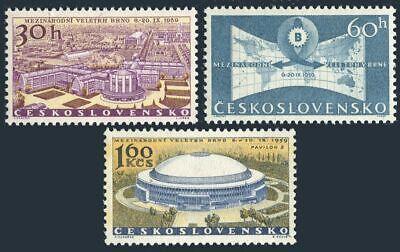 Czechoslovakia 927-929, hinged.Michel 1146-1148. Fair in Brno, 1959.Map.Pavilion,