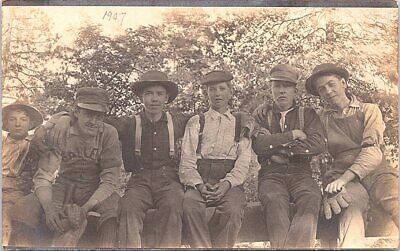 RPPC Baseball Team Photo Young Boys in Overalls 1907