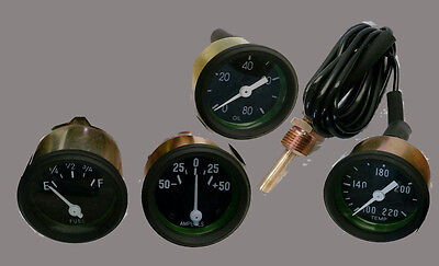Willys MB Jeep Ford GPW Gauges Kit- Temp Oil Pressure Fuel  Amp - Black Bezel