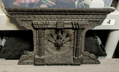 """Vintage Hand Carved 11""""x6.5"""" Nepal Peacock Wall Art Plaque Panel Sculpture Decor"""