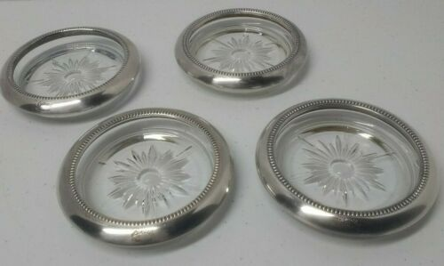 Vintage Leonard Coaster set of 4 Silverplate Italy Glass starburst