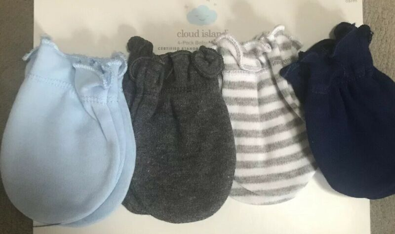 4 Pack Baby Mittens Shades Of Blue And Gray.