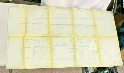 Vintage 3 Architect's Drawing of Boat Deck on a Ship