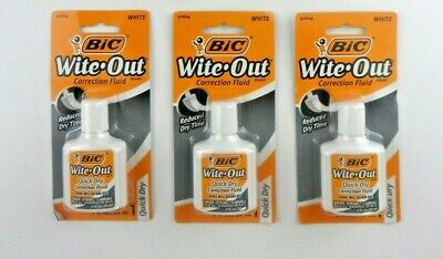 Bic Wite-out 3 Total Quick Dry Correction Fluid White 20ml Bottles Sealed New