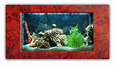 New AQUABELLA FISH AQUARIUM 41 Inch BURLWOOD WALL MOUNT SHOW TANK LOCAL PU ONLY