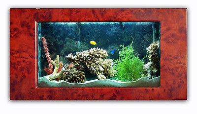 New AQUABELLA FISH AQUARIUM 41 Inch BURLWOOD WALL MOUNT SHOW TANK LOCAL PU ONLY