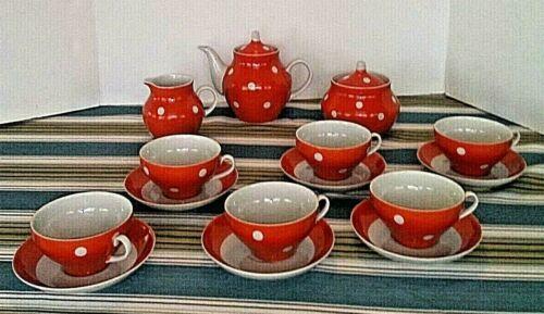 Vintage USSR RUSSIAN Dulevo Porcelain TEA SET>6 Cups &Saucers>TEAPOT CREAM&SUGAR