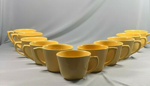 11 Vintage Bauer Pottery Cups Yellow