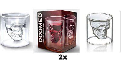 - 2 x Crystal Skull Head Vodka Shot Whiskey Home Wine Beer Tea Glass Drinking Cup