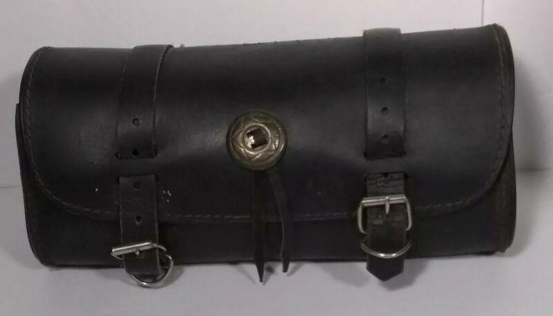 Vintage Motorcycle Tool Bag Black Leather 2 Buckle Bag
