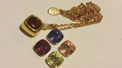 """JOAN RIVERS Gold Tone NECKLACE with 5 Changeable PENDANTS on 18"""" Chain*****"""