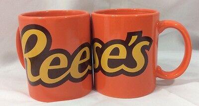Reese's Peanut Butter Cup Hershey Coffee Tea Mug Orange LOT OF 2