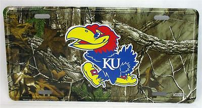 Kansas University Jayhawks Realtree Camo Car Truck Auto Tag License Plate Game