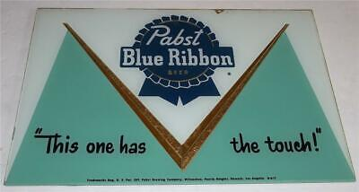 Vintage Pabst Blue Ribbon Beer Reversed Painetd Glass Sign  RARE