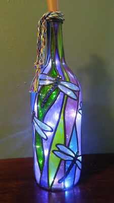 Dragonfly Wine Bottle Lamp Handpainted Lighted Stained Glass Look