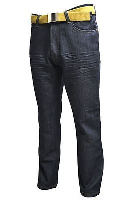 Mens Big/Tall Quality Belted Relaxed Fit Fashion Jeans 40