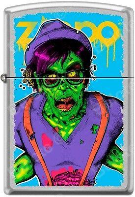 Zippo Neon Hipster Zombie Walking Dead Satin Chrome WindProof Lighter NEW