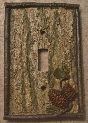 NEW PINE CONE BARK SINGLE LIGHT SWITCH PLATE SWITCHPLATE CABIN WALL COVER DECOR