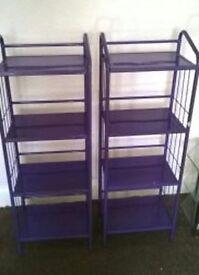 Two Purple Shelf Units