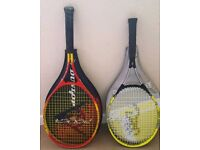 2 hardly used tennis rackets & cases - Dunlop/Browning