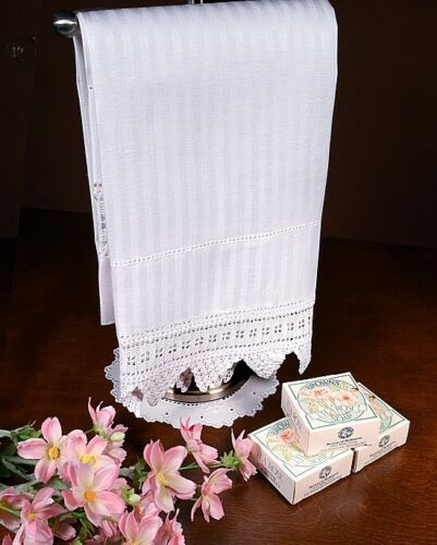 ANTIQUE LINEN DAMASK SHAVING TOWEL WITH LACE - STRIPED RIBBONS & DOTS