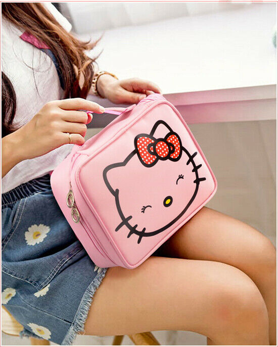 Cute Hello Kitty Cosmetic Makeup Bag Handbag Tote Organizer Travel Storage Bags