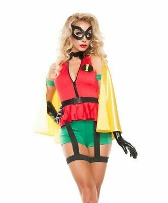 WOMEN'S SEXY ROBIN SIDEKICK GIRL BATMAN COSTUME SIZE MEDIUM