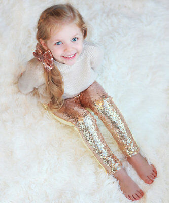 New Girls Sequin Pants Rose Gold Sequin leggings Sparkle Pants Glitter leggings](Girls Gold Pants)