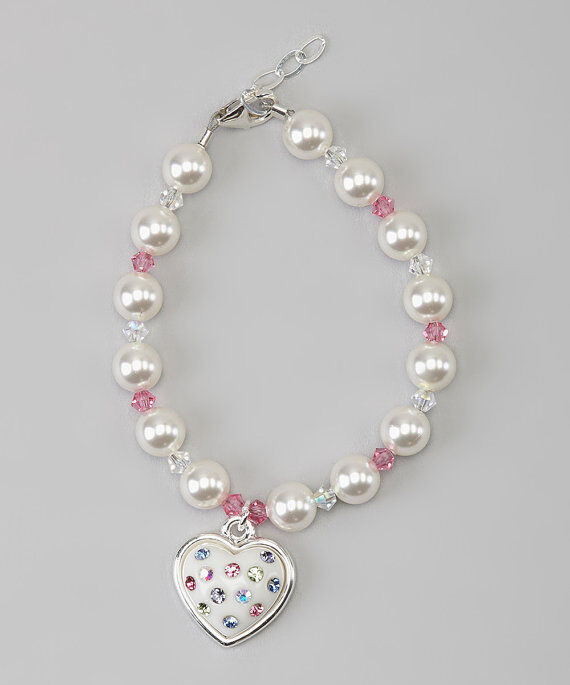 Baby Bracelet with Swarovski White Pearls and Pink and Clear Crystals with Cryst