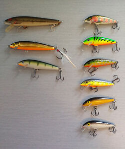Floating Minnow Lures (8 Rapala +1 Rebel)