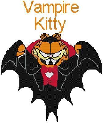 Garfield Halloween English (CROSS STITCH+ CRAFT PATTERN Garfield Kitty Cat Cartoon Vampire Dracula)