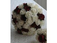 Dark red & ivory wedding bouquet