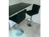 Bar Stools x2, black faux leather, used but good condition, £17.50 each (£35 pair)