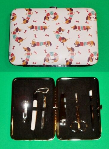 7 Piece Manicure Set in Holiday Dachshund Carrying Case