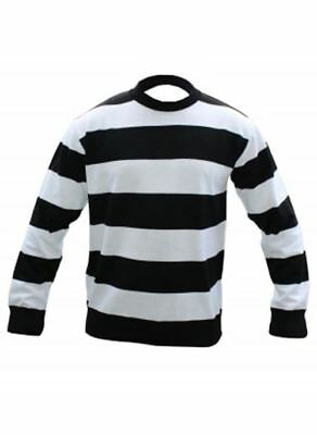 B&w Halloween Kostüme (Kids B&W Stripe Convict Jumper Halloween Fancy Dress Criminal Prison Outfit)