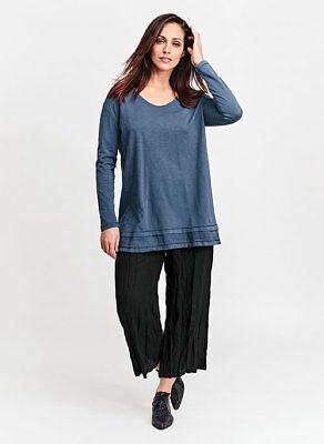 FLAX  Designs  Urban Pullover Tee  M L   NWOT  Cotton & Linen  BLUE