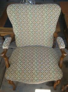 Love this antique side chair. Beautiful fabric